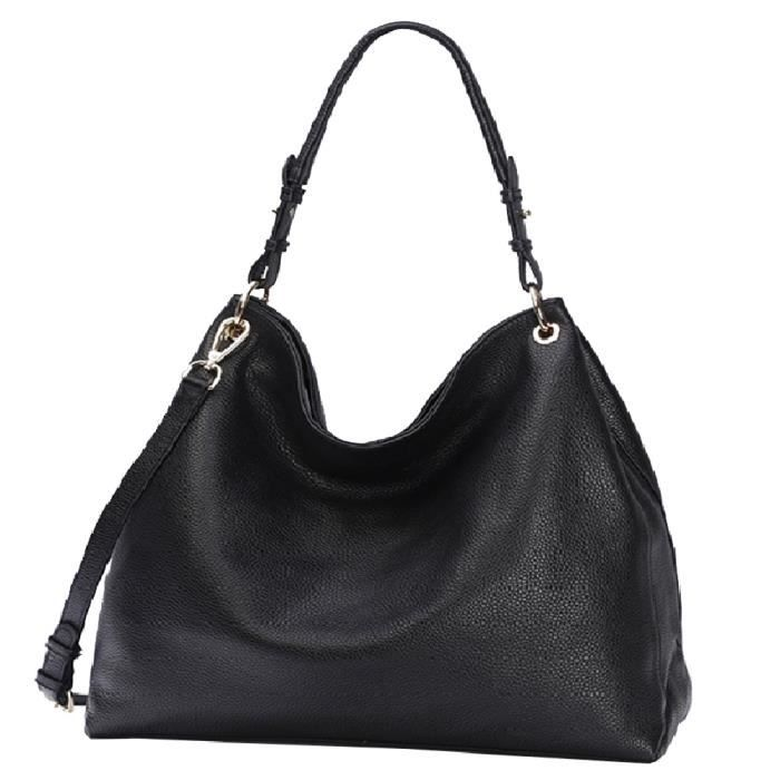 Sac Main Shopping Femme Grand Format Capacité Sac à Bandoulière Cours Lycée Cabas Fourre Tout Epaule Cuir Shopper Simple - Noir