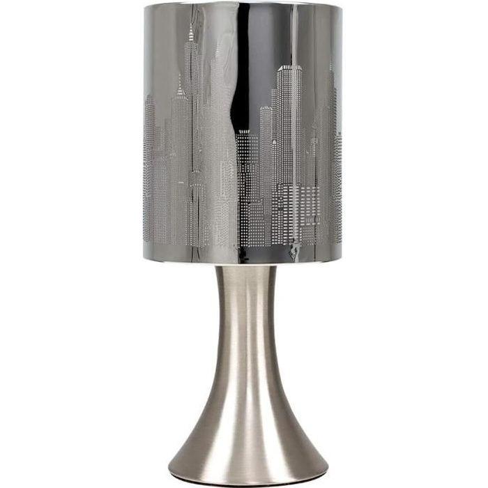 MiniSun 'Horizon - NEW YORK'. Lampe de Table, Chevet Touch Moderne. Variateur Touch Intégré. Pied Contemporain en Nickel avec Abat-J