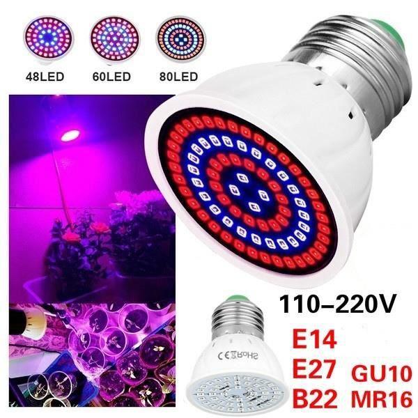 Swonuk® Ampoule de Plante Phyto E27 Lumière de croissance des plantes avec 60 LEDS pour Jardinage