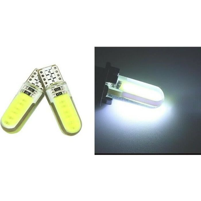 Ampoule T10 LED W5W COB 6000K Blanc Xénon Veilleuse Phare Lumière intérieur 12V