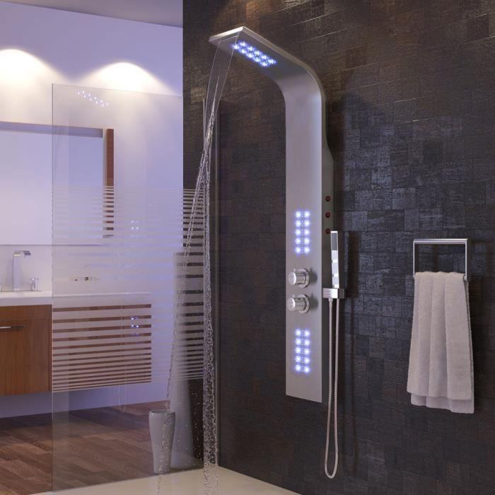 Colonne de Douche en Acier Inoxydable avec Jet de Massage, Buses de Massages et Douche Manuelle, pour Salle de Bain/Hôtel (LED viole