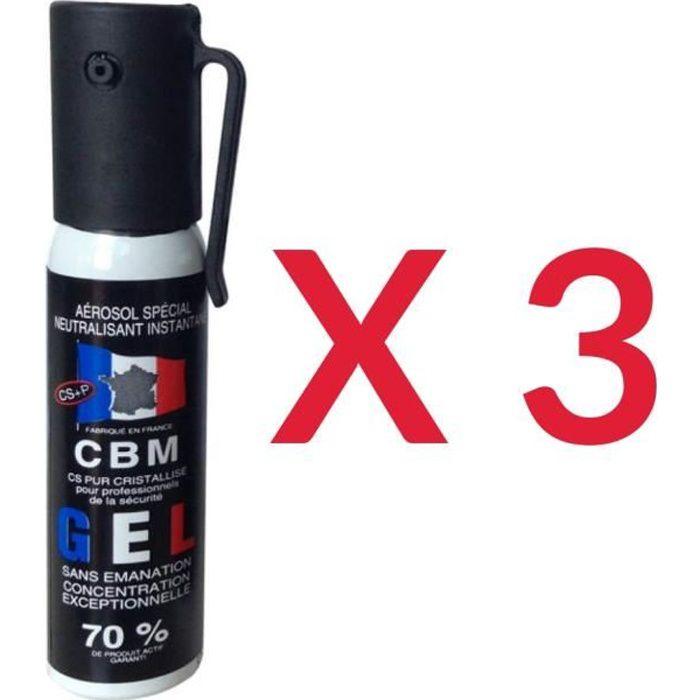 Lot de 3 - Bombe aérosol lacrymogène de défense gel CS 25 Ml