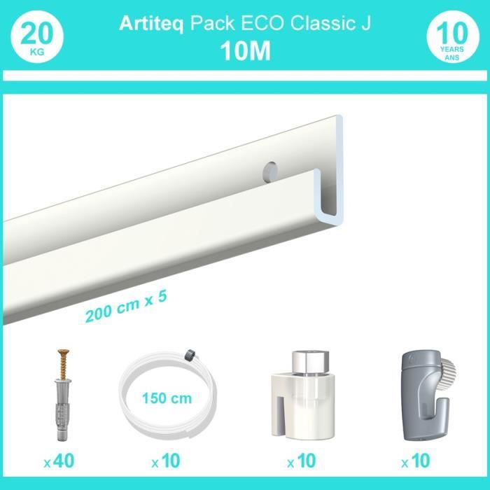 Pack complet 10 mètres cimaise Classic J couleur Blanc laqué - Suspension et déplacement facile de cadres et tableaux 10 câbles