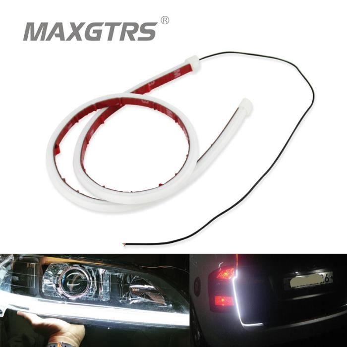 YELLOW 30cm -Bande de Tube Flexible LED DRL, 2x30cm, 45cm, 60cm, feu de jour, phare de voiture, clignotant