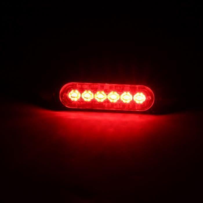 LED Ampoules rouge Ampoule Avertissement voiture Flash Light 6 Bleu - Rouge Strobe Beacon Bar Risque d'urgence