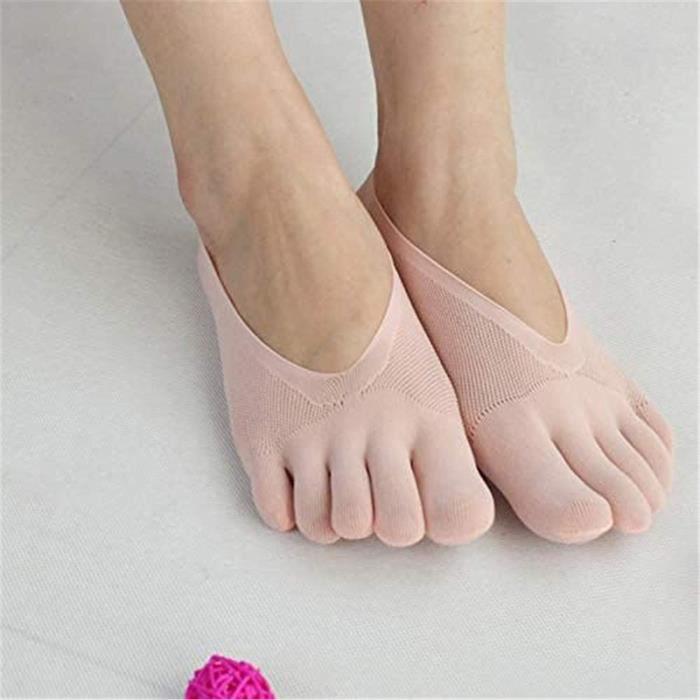 5 paires de chaussettes de compression orthopédiques pour femmes chaussettes d'orteil, chaussettes respirantes à bout fendu à cinq
