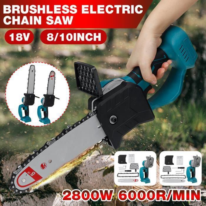 Mini Scie à Chaîne Electrique 18V 2800W pour Outils de Jardinage du bois avec Batterie 8 pouces