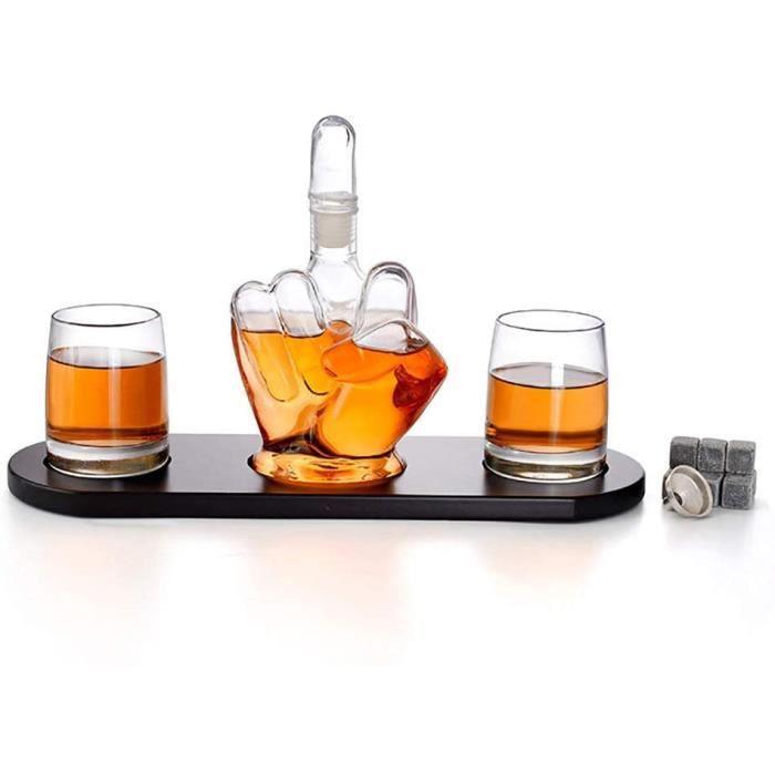 Ensemble De Carafe en Verre Agrave Whisky, Bouteille De Vin en Forme De Majeur 1000 ML, avec Support en Bois Tartare De Glace en Ac