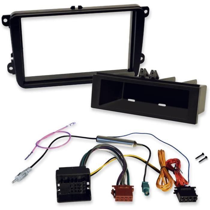 Kit d'installation 2 DIN et 1 DIN pour VW pour l'installation de l'autoradio et du GPS avec façade d'autoradio et adaptateur Qu A2