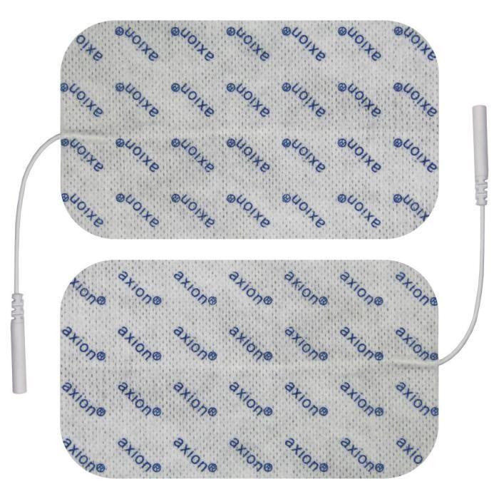 Axion - 2 électrodes 12 x 7 cm - compatible avec les appareils utilisant une connexion à fiches de 2 mm TENS et EMS