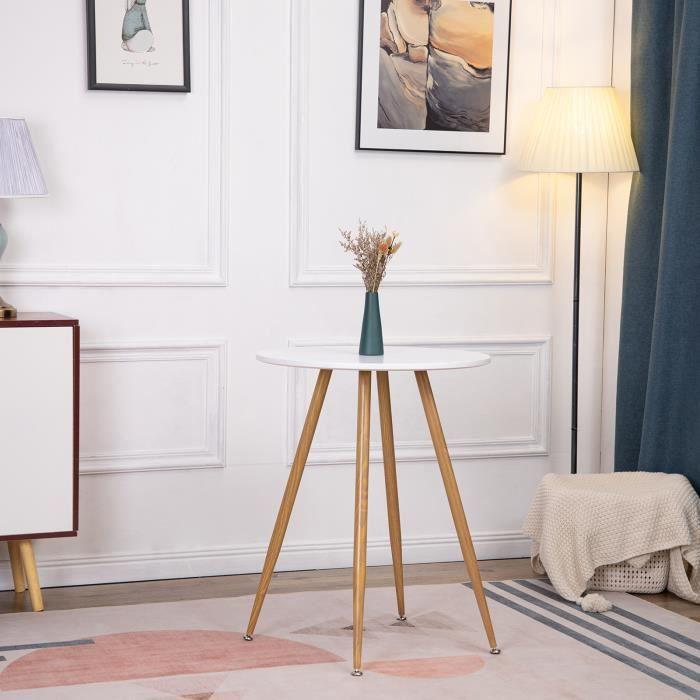 EGGREE Table à manger ronde design Blanc,Style scandinave 60 x 60cm