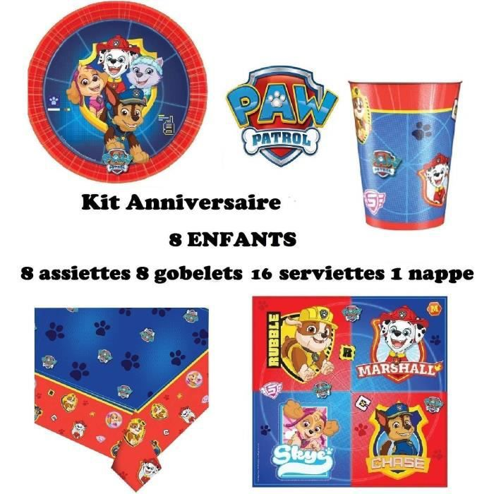 Mgs33 Kit ( cde 5 ) Pat Patrouille 8 Enfants Anniversaire (8 Assiettes, 8 gobelets, 16 Serviettes, 1 Nappe + paquet de bombe a eau)