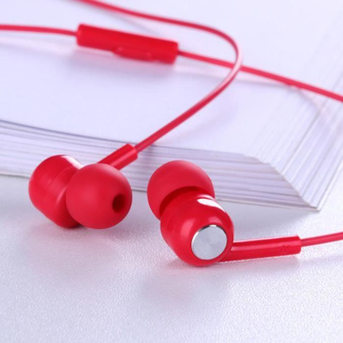 JOYROOM E102S Ecouteurs Intra-auriculaire 3.5mm Casque Basse Lourde en Métal avec Microphone Contrôle Filaire Rouge
