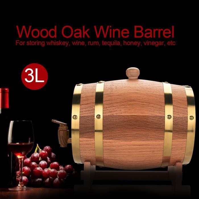 KIMISS Tonneau à vin bois bois chêne vintage pour bière Whisky Rum Port 3L-REN
