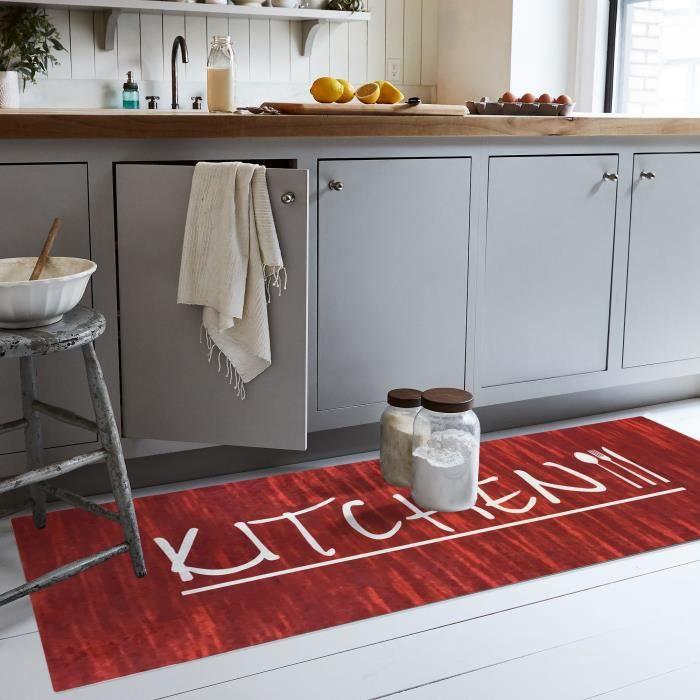 Tapis de cuisine, antidérapant et Lavable ene machine, KITCHEN Rouge 60x90cm
