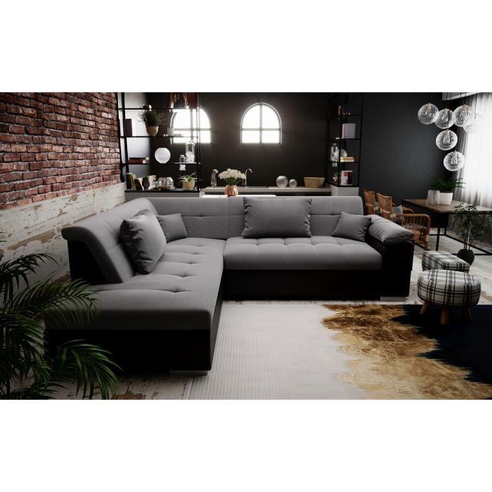 PEYTON - canapé d'angle convertible - angle gauche - gris noir