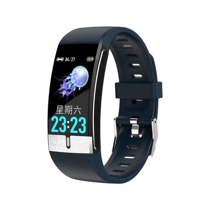 Bracelet Fitness Montre Intelligente Fréquence Cardiaque Tracker Activité IP68 étanche pour les Femmes-Hommes-Enfants - BLEU