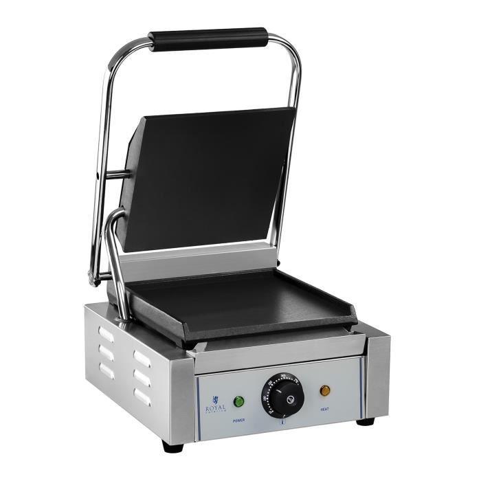 Machine à panini lisse Royal Catering RCKG-1800-F (1800W, plaque de cuisson inférieure 23,5x22,5cm, récupérateur de graisse en inox)