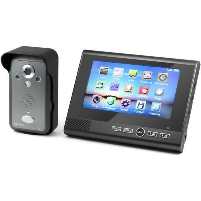 TECHNAXX Visiophone TX-59 sans fil écran couleur TFT LCD 7- avec caméra intégrée