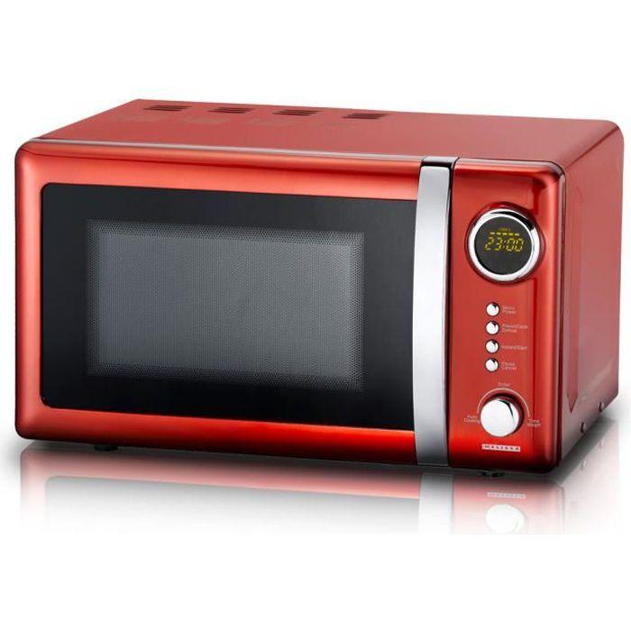 MICRO-ONDES Micro-ondes 700 watts, rouge, 5 niveaux de puissan