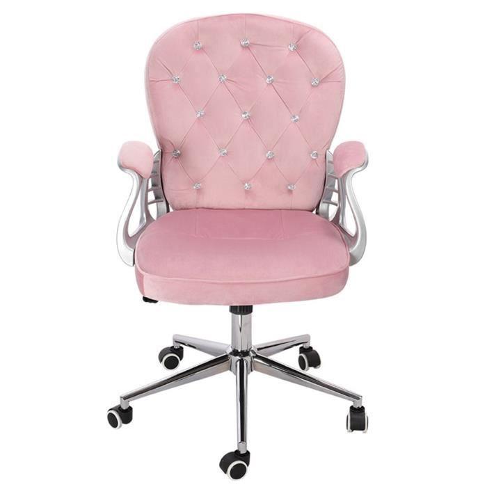 Fauteuil De Bureau Rose Chaise De Bureau En Velours Dossier Avec Boucle De Cristal Confortable Rotatif Hauteur Réglable