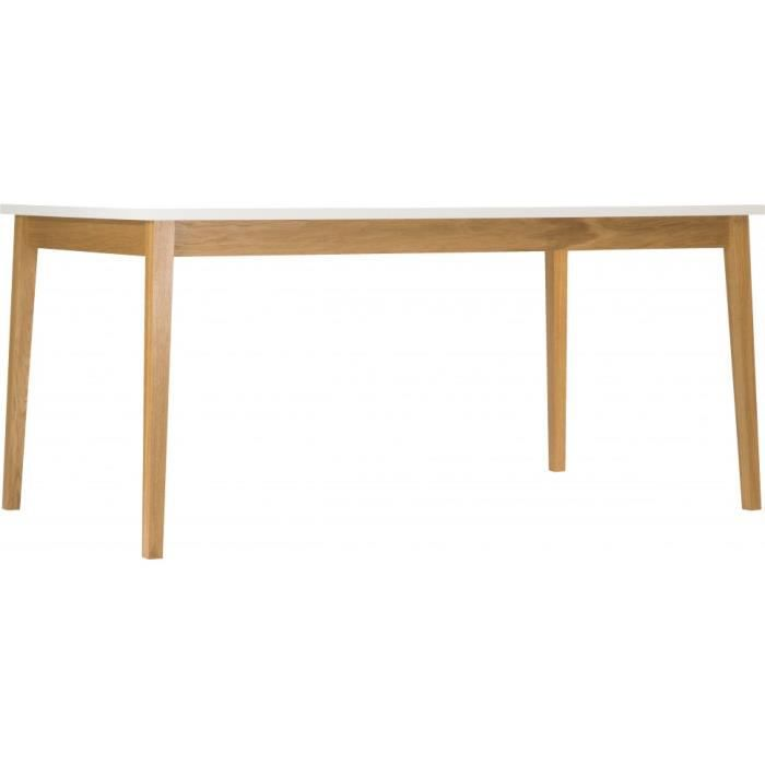 Table de repas scandinave blanche pieds ch ne naturel for Table a rallonge scandinave