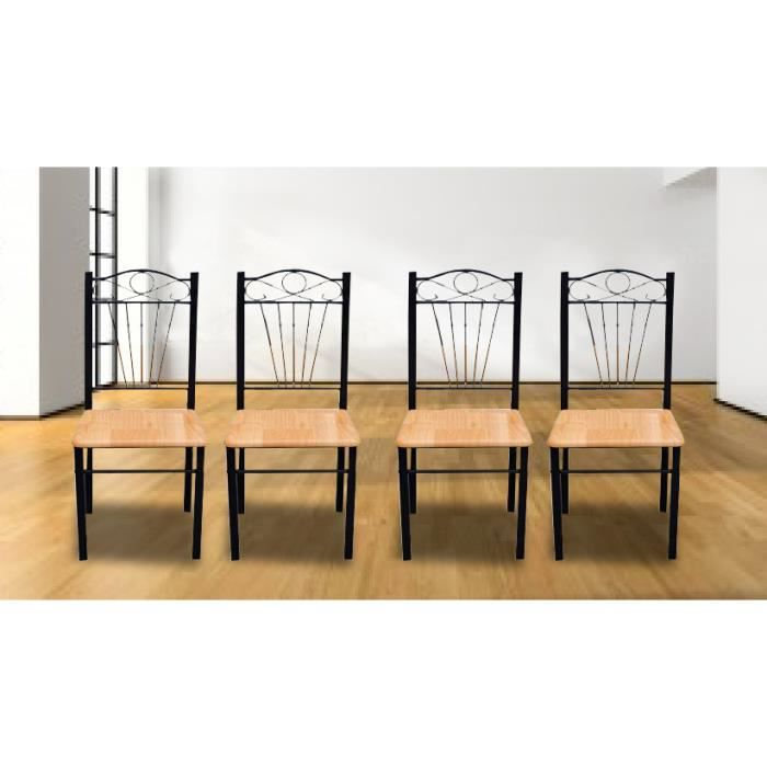 lot de 4 chaises en bois mdf structure en m tal achat vente chaise bois mdf m tal fer. Black Bedroom Furniture Sets. Home Design Ideas
