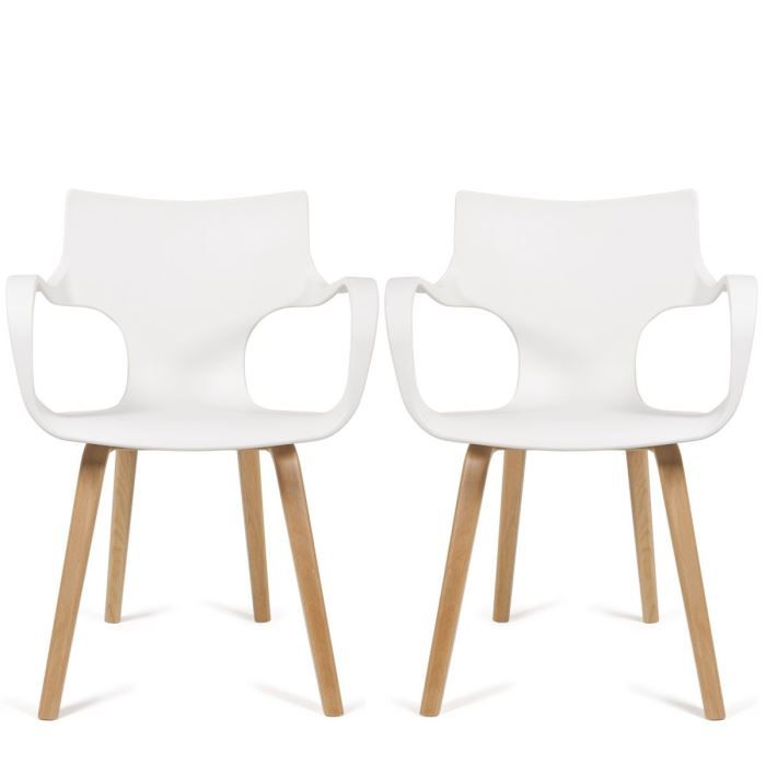 lot de 2 chaises design rockwood couleur blanc achat. Black Bedroom Furniture Sets. Home Design Ideas