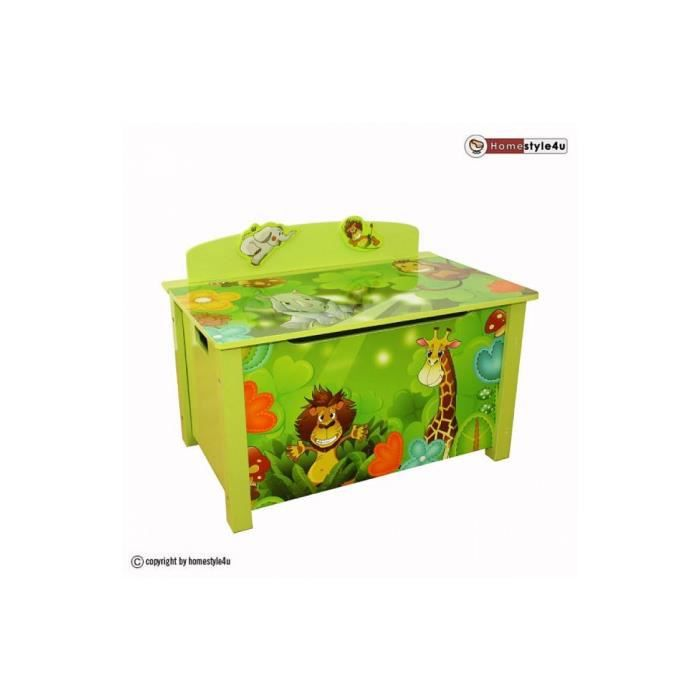 coffre jouets en bois jungle achat vente armoire 3701015501571 cdiscount. Black Bedroom Furniture Sets. Home Design Ideas
