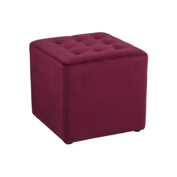 pouf carr en velours capitonn bryan rouge achat vente pouf poire cdiscount. Black Bedroom Furniture Sets. Home Design Ideas