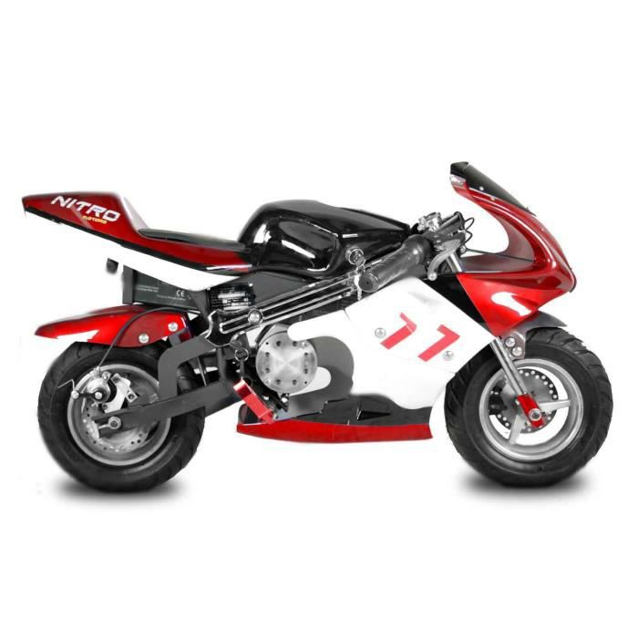 pocketbike lectrique 1000w eco minibike racing pocket rouge noir achat vente moto. Black Bedroom Furniture Sets. Home Design Ideas