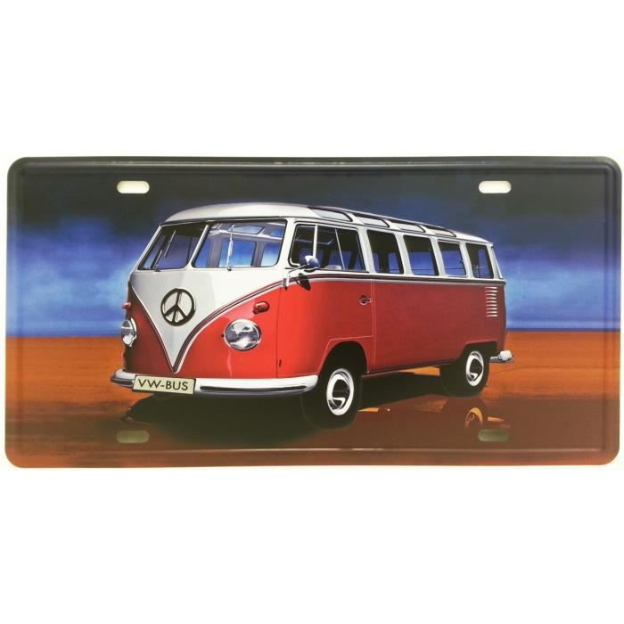 plaque m tal combi bus volkswagen achat vente plaque. Black Bedroom Furniture Sets. Home Design Ideas