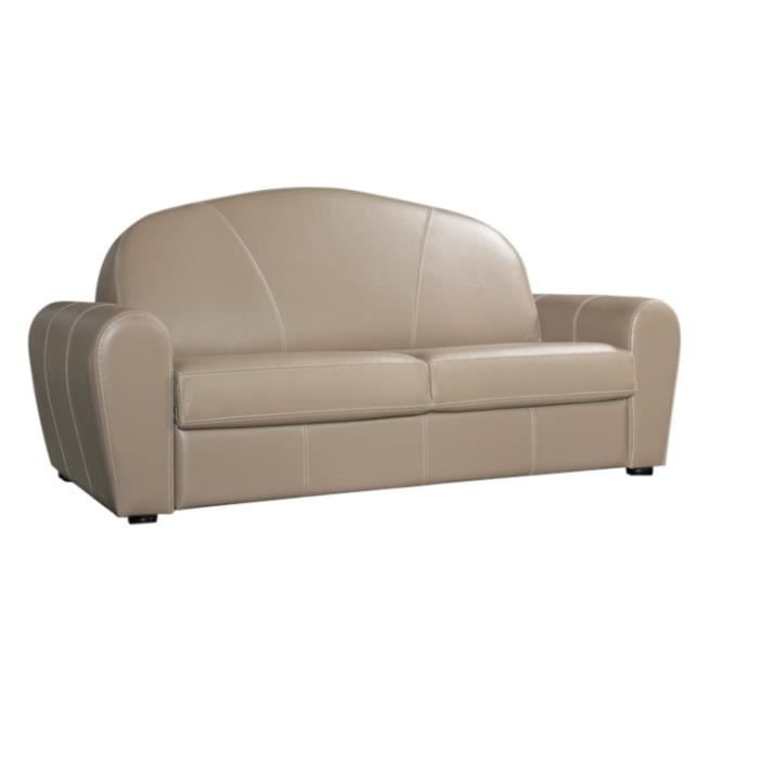 canap convertible 160x190 club cuir recycl taupe achat vente canap sofa divan cuir. Black Bedroom Furniture Sets. Home Design Ideas