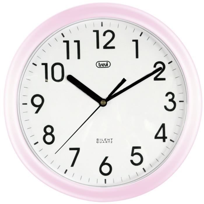 trevi horloge murale 25cm mouvement quartz rose achat vente horloge pendule cdiscount. Black Bedroom Furniture Sets. Home Design Ideas