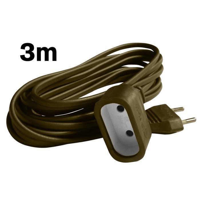 Zenitech Prolongateur m/énager 6A HO3VVH2F 2 x 0.75 Blanc 3m