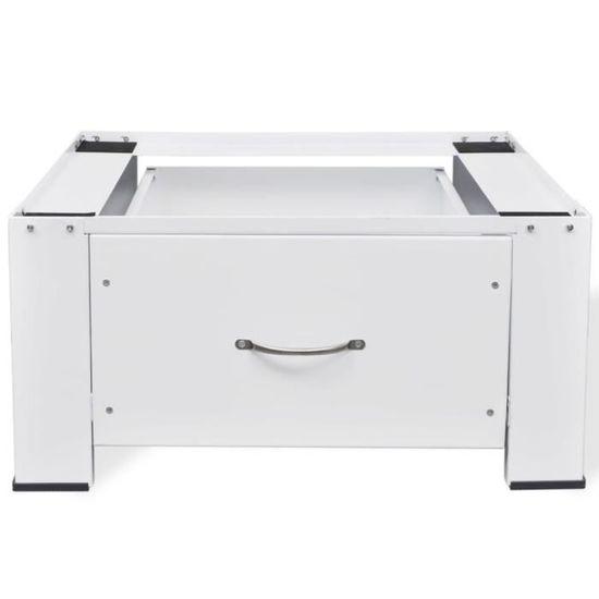 Socle pour Machine à Laver avec Tiroir Blanc Capacité Portante 100 kg