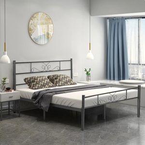 STRUCTURE DE LIT Aingoo lit en métal - 140 x 190 cm - Pour adulte -