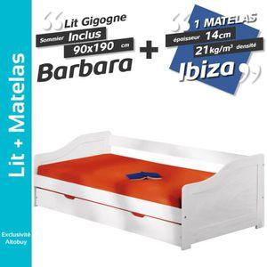 LIT GIGOGNE Barbara - Pack Lit Gigogne 90x190 + 1 Matelas Ibiz