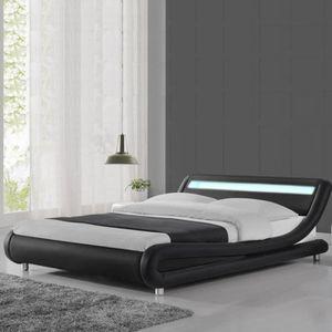 STRUCTURE DE LIT Lit led design Julio - 160x200 - Noir