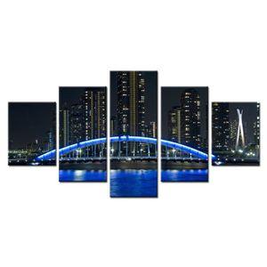 TABLEAU - TOILE (Non encadré) 5 Panneau Le pont bleu Paysage noctu