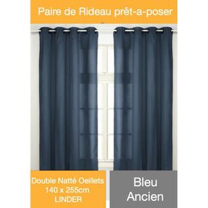 double rideau bleu achat vente double rideau bleu pas cher cdiscount. Black Bedroom Furniture Sets. Home Design Ideas