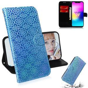 COQUE - BUMPER Coque LG W10,Bleu Ciel Couleur unie Cuir Premium P