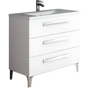 SALLE DE BAIN COMPLETE Meuble de salle de bain LINARES 80 cm Blanc brilla