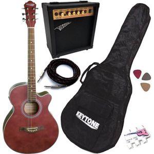 PACK INSTRUMENTS CORDES Pack Guitare Électro-Acoustique Jumbo Rouge Mat 5