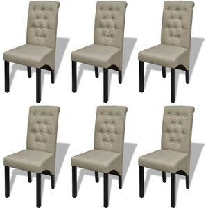 CHAISE Lot de 6 Chaise de salle à manger 6 pcs Tissu Beig