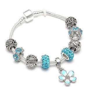 BRACELET - GOURMETTE 21 cm Bracelet Charm Fleur Cristal Style Pandora A