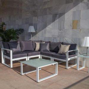 CANAPÉ DE JARDIN Canapé d'angle d'extérieur Aluminium Blanc-Gris -