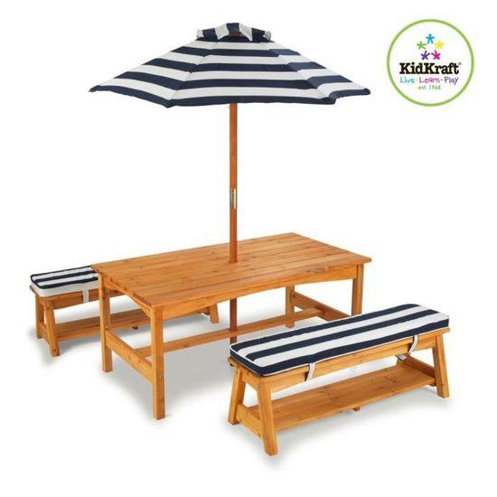 P198 KidKraft Jeu de table et banc de jardin pour enfants ...