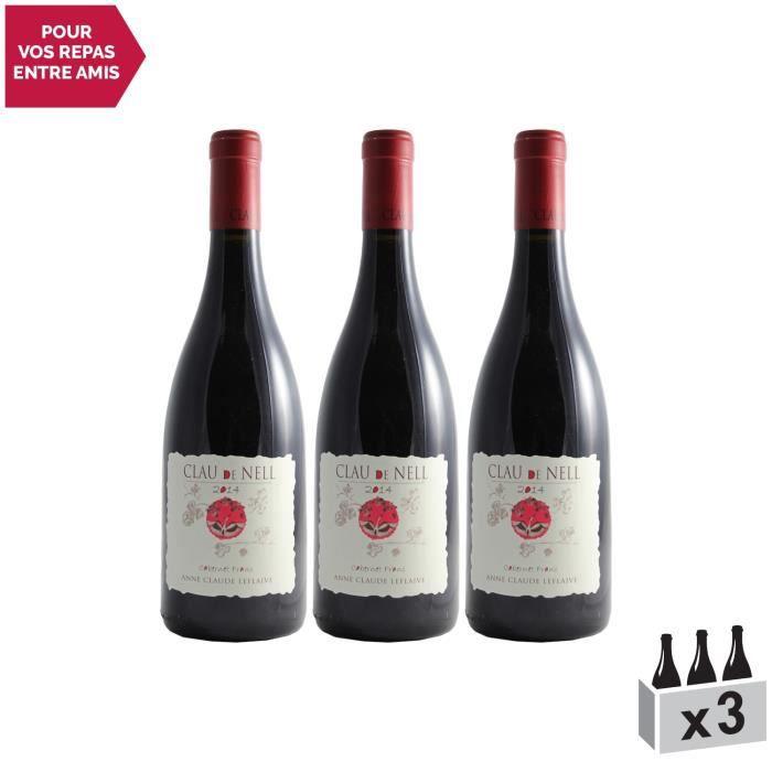 Clau de Nell Cabernet Franc Rouge 2014 - Lot de 3x75cl - Appellation AOC Anjou - Vin Rouge du Val de Loire - Cépage Cabernet Franc