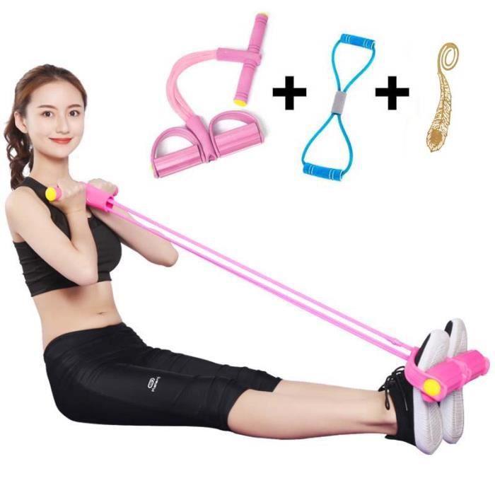 Bande Résistance Elastiques Bandes Fitness Corde Traction avec Poignées Pédale Traction pour Fitness Pilates Yoga Gym Entraînement